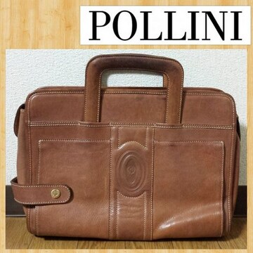 POLLINI ポリーニ レザーバッグ 持ち手収納式 ヴィンテージ セカンド クラッチ
