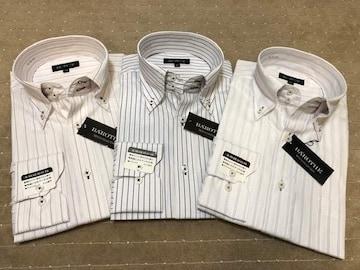 長袖ワイシャツ新品 ストライプ(1)3枚セット Mサイズ