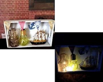 LED アンティーク マリン 船 ミニチュア ライト 照明 置物