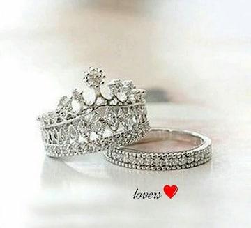 送料無2個重ね付け13号スーパーCZダイヤクラウン王冠リング指輪