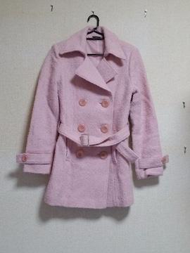 ☆ピンクAライン☆ダブルボタン☆キラキラバックル☆長袖コート☆9号☆