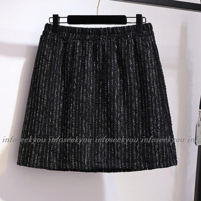 4L5L大きいサイズ/ZIPツイード調スカート