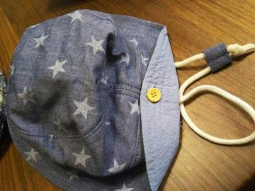 48★デニム地 調節紐付き星柄 水色 スター柄帽子 ハットキャップ