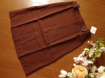 新品 Tip Tip 茶 膝丈 ボックス プリーツ スカート M 64-91