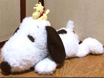 ■SNOOPY/スヌ-ピ-*メガジャンボ仲良し寝そべりぬい50�p*ウィンタ-Ver.