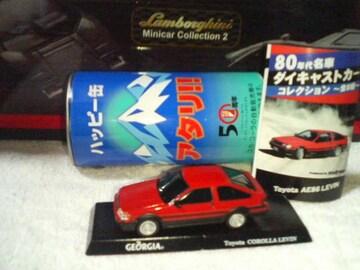 ジョージア  ハッピー缶   1/64 AE86  カローラ  レビン   赤    プルバックカー
