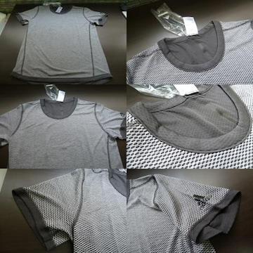 送料込(L灰)アデイダス BXA36 Tシャツ リバーシブルSNOVATOKYO丸首半袖