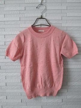 美品即決GU/ジーユー/ストーン装飾半袖ニットカットソー/ピンクS