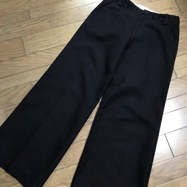 スピック アンド スパン綿ウール黒ブラックワイドパンツ太パンツ < ブランドの
