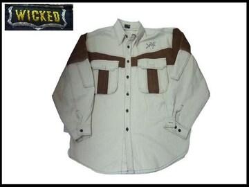 80sデッドストックデニムシャツ新品WICKEDウィキッヴィンテージクロクカラーズ系