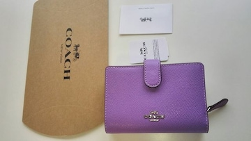 COACHシグネチャー姫コーチ財布二つ折りミニ紫パープル