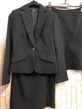 新品☆7号♪黒ストライプのスカート2種付スーツセット☆g830