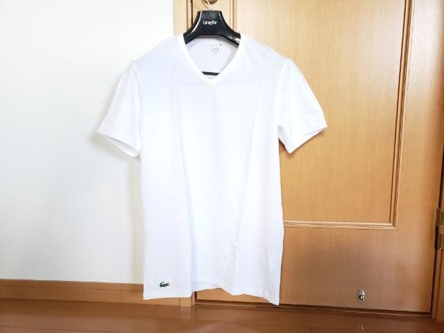LACOSTE ラコステ Vネック Tシャツ ホワイト M  < ブランドの