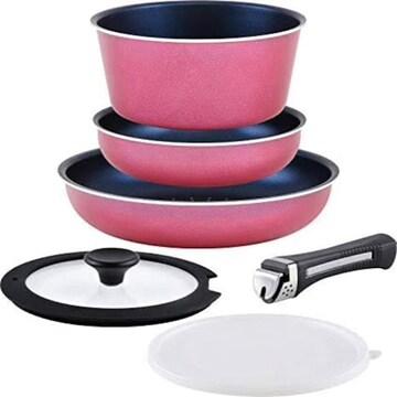 フライパンセット ピンク 取っ手の取れる6点セット オーブン ガ