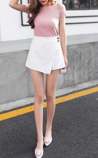 ミニスカートに見える!! 可愛いスカンツ(XL寸・白) < 女性ファッションの
