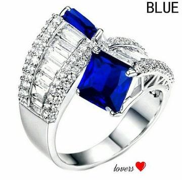 送料無料12号クリアブルーサファイアスーパーCZダイヤリング指輪