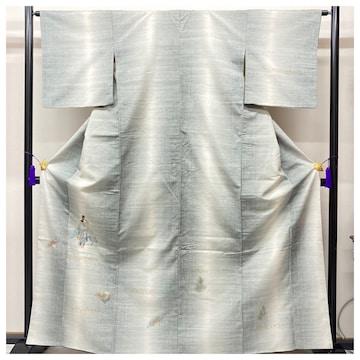 特選 紬 訪問着 特選 正絹 裄64.5 身丈163 白×グレー 人物柄