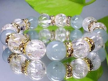 本物天然石アクアマリン&クラック爆裂水晶10ミリ