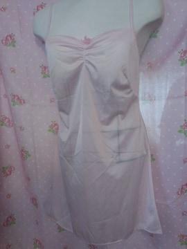 〓 綺麗なピンクに背中の編み上げが大人かわゆすな キャミ スリップ 〓
