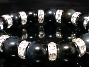 天然石☆ブラックオニキス☆銀ロンデル12ミリ