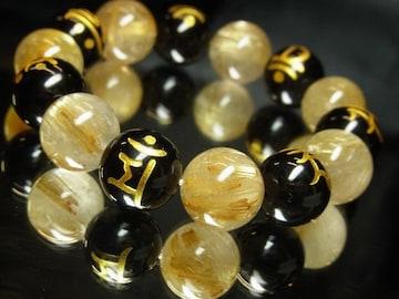金彫七種梵字ブラックオニキス×タイチンルチル数珠ブレスレット!!勝負運