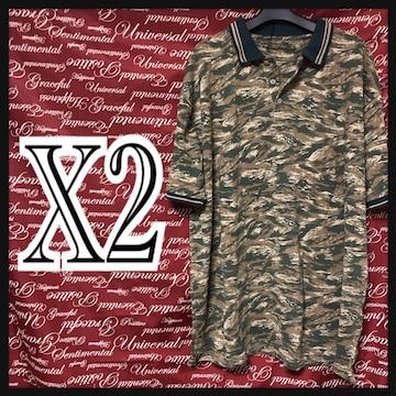 X2(4L)迷彩総柄ポロシャツ新品/MCM505-004