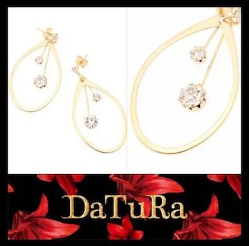 送料無料!DaTuRa【新品】スイングストーン楕円モテピアス Gold
