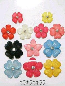 デコパーツラインストーン付*フラワー(花)12個セット