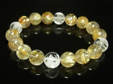 四神獣本水晶×タイチンルチルブレスレット 10ミリ数珠 最強金運アップ