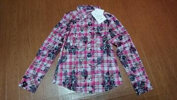 ☆新品 バラ柄のピンクシャツ☆