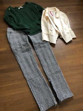【トランテアンソンドゥモード】漆黒グリーンとろみニット36