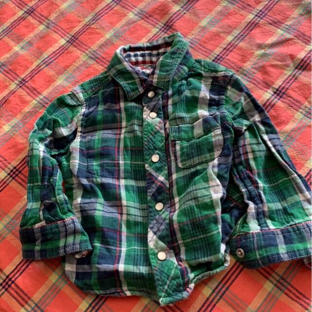 チェック★2way★カジュアルシャツ サイズ70  < キッズ/ベビーの