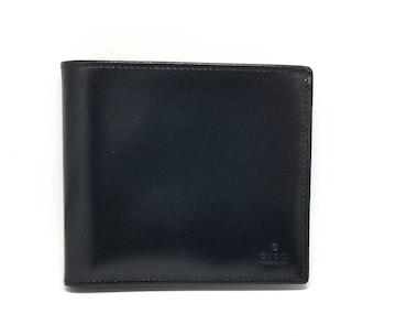 正規未使用グッチ財布二つ折りブラック黒レザーコンパク