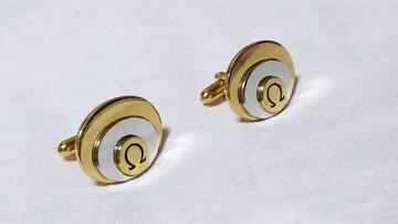 正規 オメガOMEGA Ω ヴィンテージ 3オーバルロゴカフス金×銀 トリニティーカフリンクス