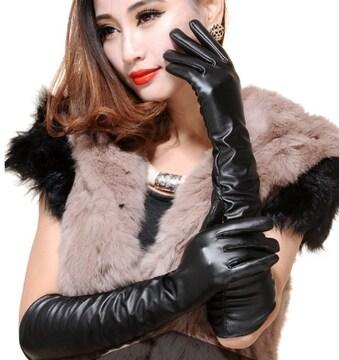 フェイクレザー 手袋 ロング グローブ ブラック アクセサリー