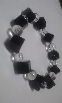 オニキススクエアカット&水晶 天然石ブレス