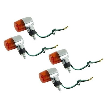 メッキウインカー丸型 汎用 オレンジレンズ 4個セット