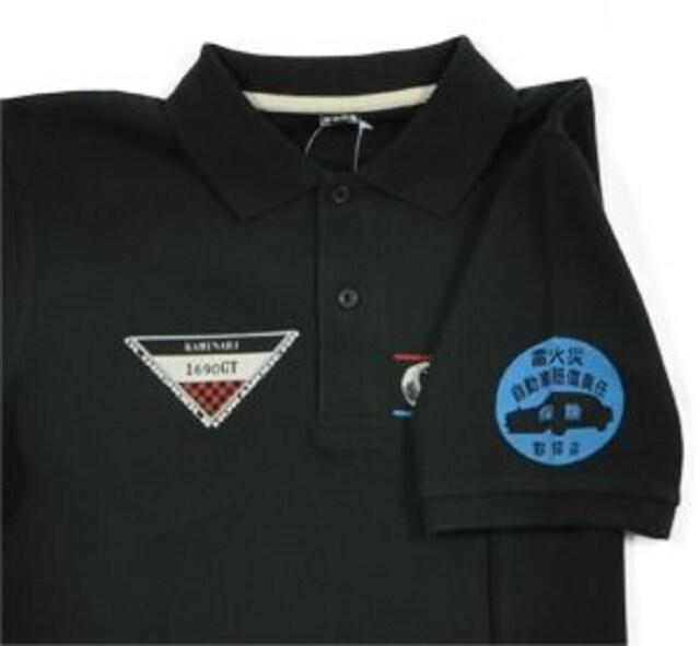 カミナリ雷/DOHCエンジン/ポロシャツ/黒/S/kmps-300/エフ商会/テッドマン < 男性ファッションの