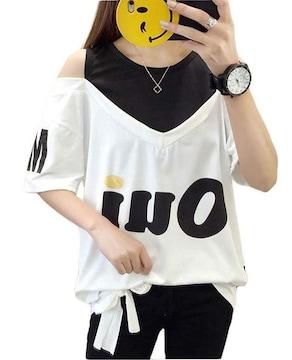 オフショルダー ゆったりTシャツ(L寸・白)