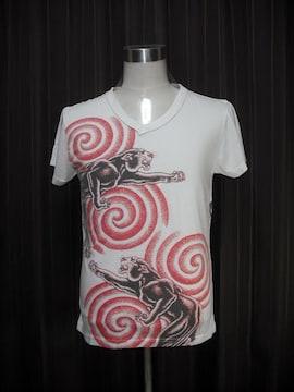 WORK品番225 ダブルタイガー 虎 Tシャツ 刺青 断ち切り加工