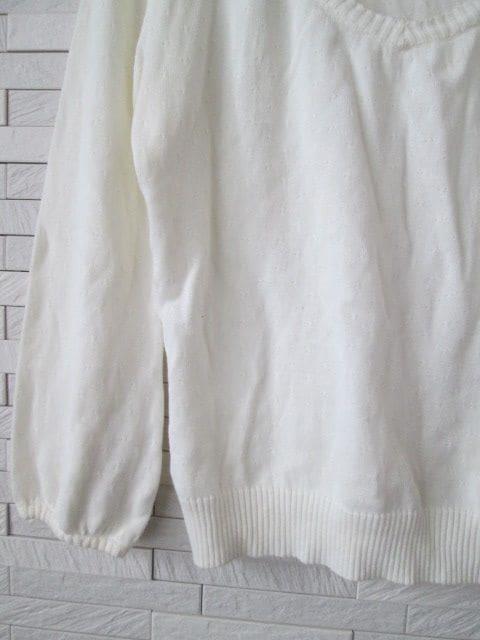 即決/FARE LA CORTE/Vネック刺繍ニットカットソー/白/38 < 女性ファッションの