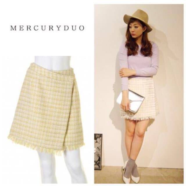 定価9,980円【新品未使用】MERCURYDUO ツイードタイトスカート  < ブランドの