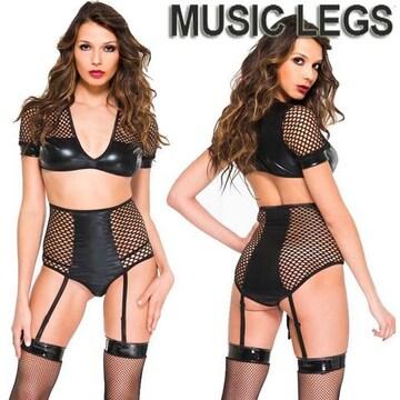 A552)MusicLegsウェットルックトップス&ガーターショーツ2点セットS黒ボンテージ女王様