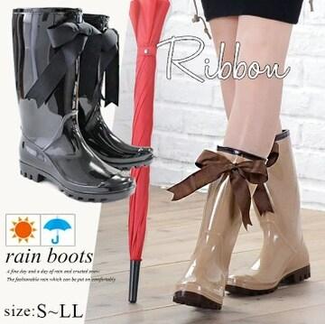 ★レインブーツ★ 長靴 リボン 黒 23cm 他色サイズ有