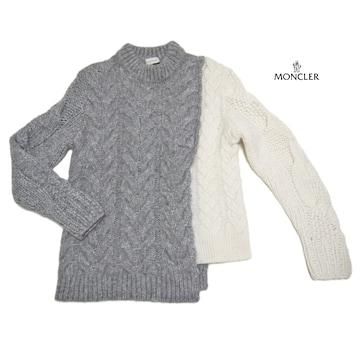 新品モンクレールMONCLER極暖ケーブルニットセーター グレー