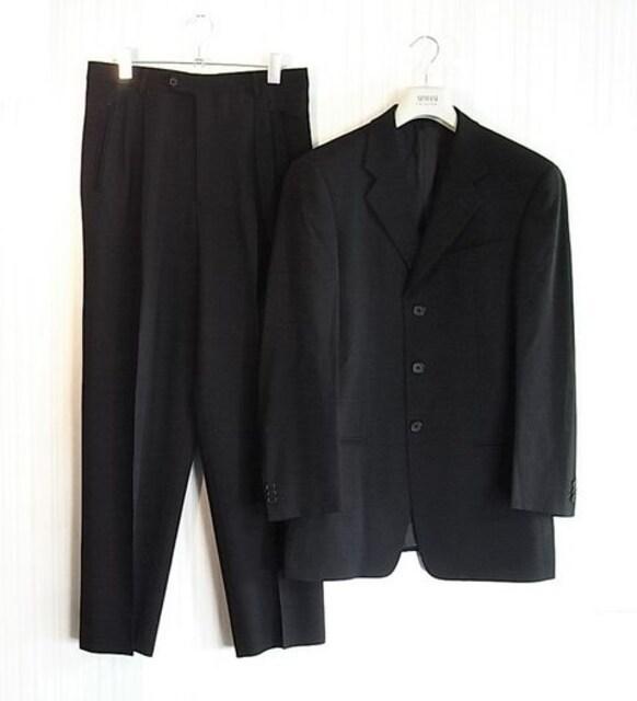 size48 アルマーニ 3釦スーツ ブラックシャドーストライプ  < ブランドの