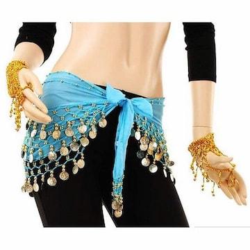 コインヒップスカーフ ベリーダンス 衣装 ブルー 1/BZ6