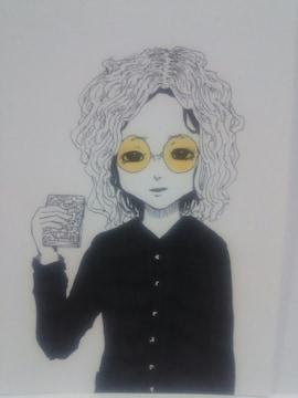 オリジナルイラスト手描きイラスト博士ハンドメイド自作原画女の子モノクロアナログ絵アート