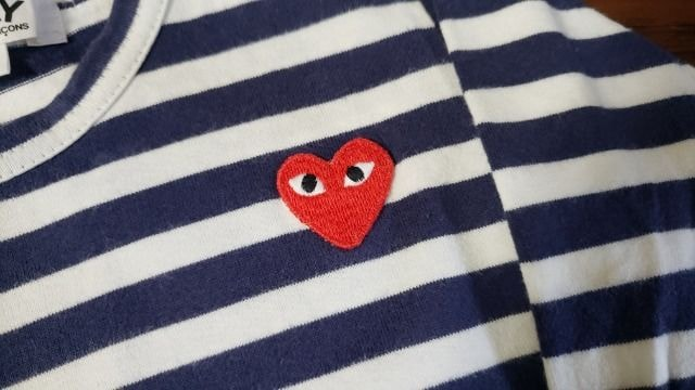 ★PLAY COMME des GARCONS★ハート刺繍★ボーダー長T★キッズ★ < キッズ/ベビーの