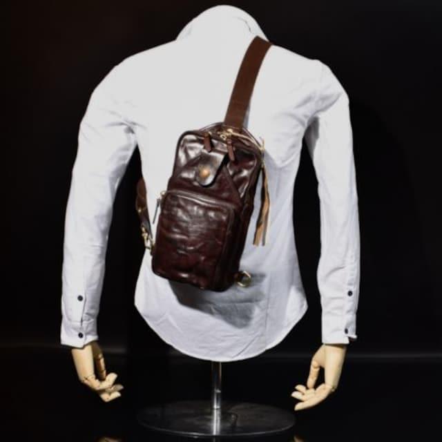 ◆Rock Lether 牛本革 強シュリンクこだわりボディバッグ◆茶b26 < 男性ファッションの